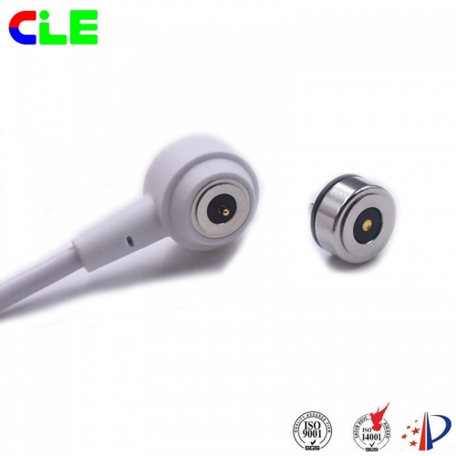 Round male and female magnetic dc connector with micro projector