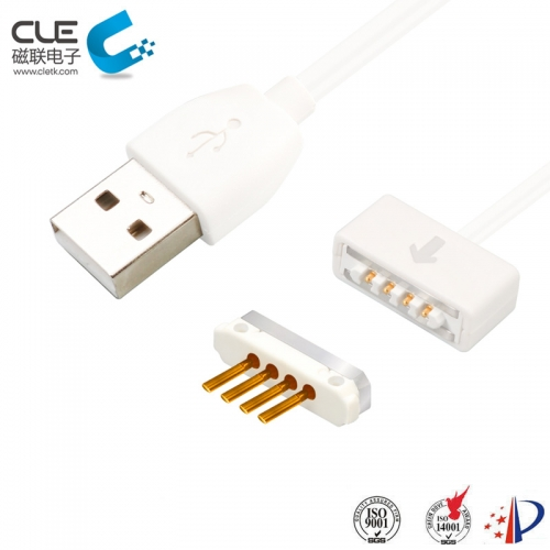 High class white 4pin magnetic pogo pin connector manufacturer