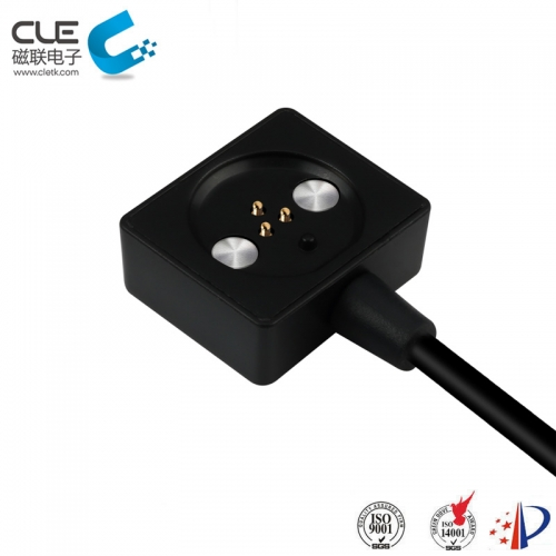 Square 3 pin magnetic charger pogo pin cable connector
